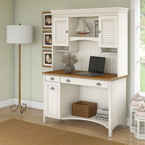 Copper Grove Pernik Computer Desk with Hutch and Drawers in White