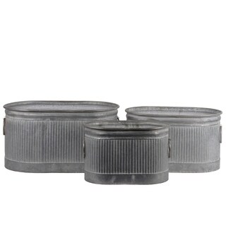 UTC56800: Zinc Oval Storage Bin with Side Ring Handles and Ribbed Design Body Set of Three Washed Finish Gray