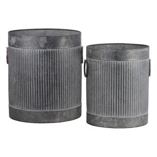 UTC56805: Zinc Cylindrical Storage Bin with Side Ring Handles and Ribbed Design Body Set of Two Washed Finish Gray