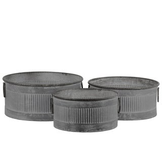 UTC56801: Zinc Round Storage Bin with Side Ring Handles and Ribbed Design Body Washed Finish Gray