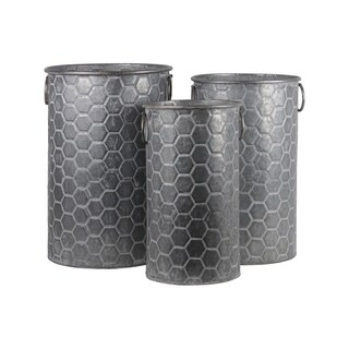UTC56806: Zinc Cylindrical Storage Bin with Side Ring Handles and Honeycomb Design Body Set of Three Washed Finish Gray