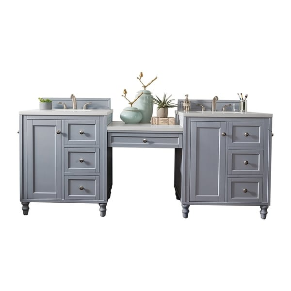 Copper Cove Encore 86 Double Vanity Set Silver Gray With Makeup Table 3
