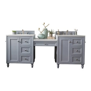 "Copper Cove Encore 90.25"" D Vanity Set, Silver Gray w/Makeup Tbl."