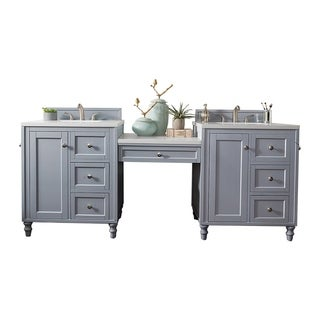 """Copper Cove Encore 86"""" Double Vanity Set, Silver Gray with Makeup Table, 3 CM Carrara Marble Top"""