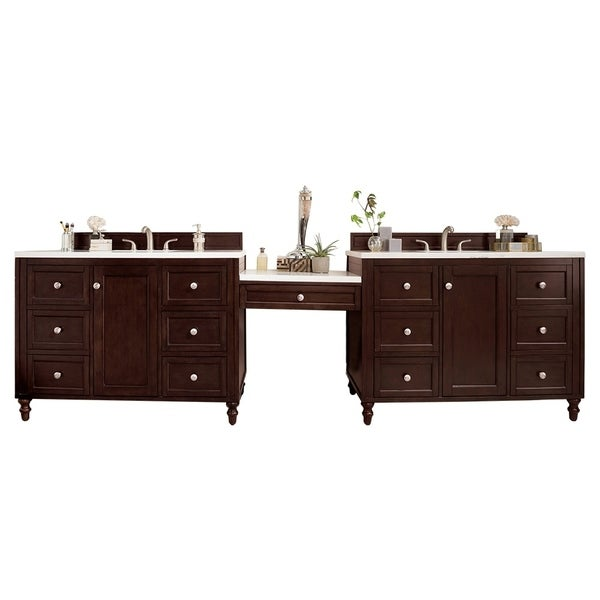 "Copper Cove Encore 126.25"" D Vanity Set, Burnished Mahogany W/MkupTbl"
