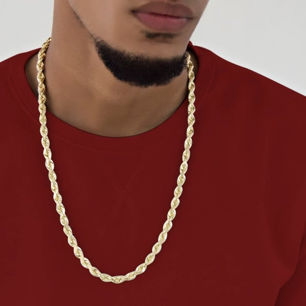 Shop 10k Solid Yellow Gold Handmade Rope Chain 6mm Wide 24