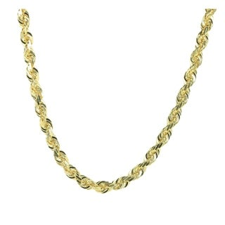 10K Solid Yellow Gold Handmade Rope Chain 9 MM Wide 24 Inches Long with Lobster Clasp (122.6 grams)
