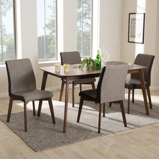 Mid-Century Beige and Brown Fabric 5-Piece Dining Set by Baxton Studio