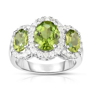 Noray Designs 14K White Gold Oval Shape Peridot & Diamond (0.52 Ct, G-H Color, SI2-I1 Clarity) Ring - Green