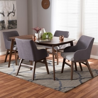 Mid-Century Walnut Wood and Grey 5-Piece Dining Set by Baxton Studio