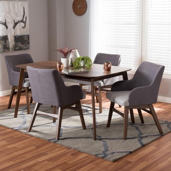 Mid Century Dining Room Sets: Shop Mid-Century Walnut Wood And Grey 5-Piece Dining Set