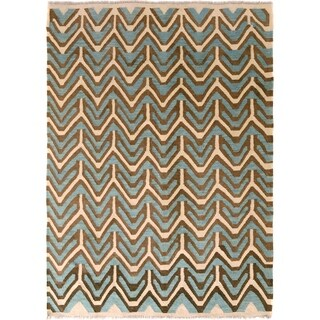 Kilim Arya Oisin Ivory/Lt. Blue Wool Rug (5'0 x 6'6) - 5 ft. 0 in. x 6 ft. 6 in.