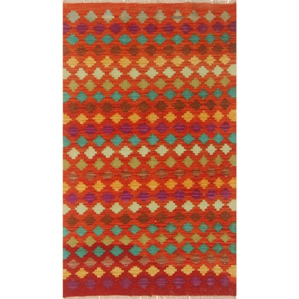 Shop Kilim Arya Melisand Rust/Teal Wool Rug (3'1 X 4'9