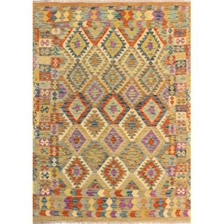 Kilim Arya Hye Brown/Blue Wool Rug (5'9 x 7'6) - 5 ft. 9 in. x 7 ft. 6 in.