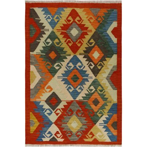 Kilim Arya Klara Red/Blue Wool Rug (3'4 x 4'11) - 3 ft. 4 in. x 4 ft. 11 in.