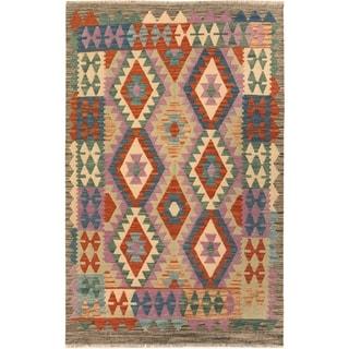 Kilim Arya Shaquita Gray/Purple Wool Rug (4'1 x 5'11) - 4 ft. 1 in. x 5 ft. 11 in.