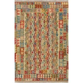 Kilim Arya Avelina Gray/Blue Wool Rug (4'11 x 6'7) - 4 ft. 11 in. x 6 ft. 7 in.