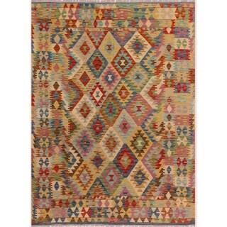 Kilim Arya Willette Blue/Ivory Wool Rug (5'0 x 6'9) - 5 ft. 0 in. x 6 ft. 9 in.
