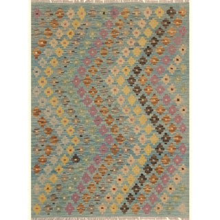 Kilim Arya Claribel Blue/Brown Wool Rug (3'6 x 5'0) - 3 ft. 6 in. x 5 ft. 0 in.