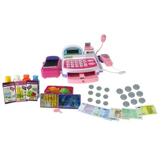 Mini Market Multi-Function Battery Operated Pink Toy Cash Register