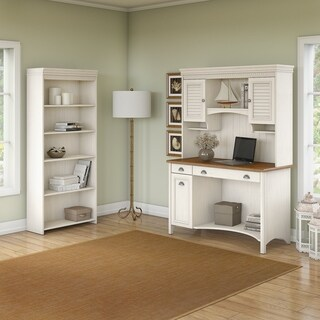 Stanford Computer Desk with Hutch and 5 Shelf Bookcase in White
