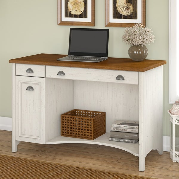 Stanford Computer Desk with Drawers in Antique White and Tea Maple - Shop Stanford Computer Desk With Drawers In Antique White And Tea