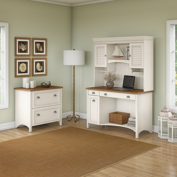 Copper Grove Pernik Computer Desk with Hutch and 2-drawer Lateral File Cabinet in Antique White