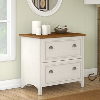 Copper Grove Pernik 2-drawer Lateral File Cabinet in Antique White and Tea Maple