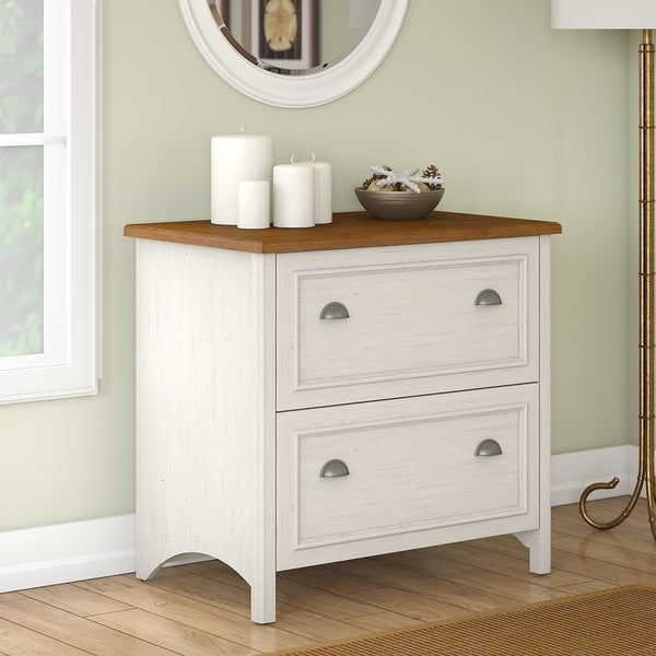 Stanford 2 Drawer Lateral File Cabinet in Antique White and Tea Maple - Shop Stanford 2 Drawer Lateral File Cabinet In Antique White And Tea