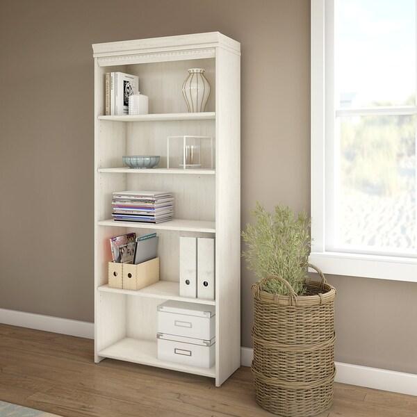 Bush Furniture Stanford 5 Shelf Bookcase In Antique White