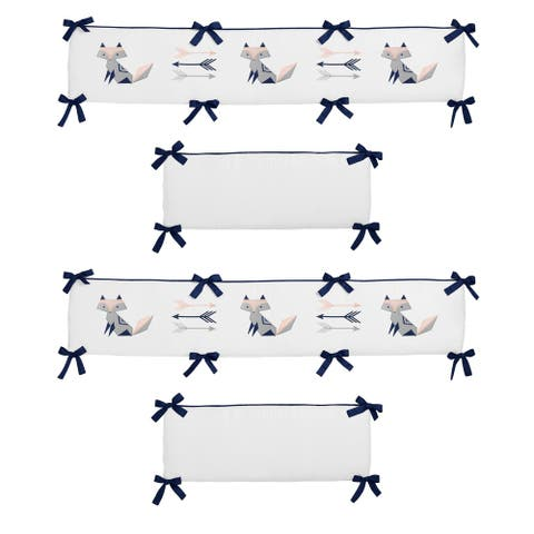 Sweet Jojo Designs Blush Pink, Grey, Navy and White Fox Patch Collection Baby Crib Bumper Pad