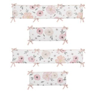 Sweet Jojo Designs Pink and Grey Watercolor Floral Collection Baby Crib Bumper Pad
