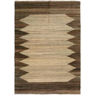 Kilim Arya Mallory Tan/Brown Wool Rug (5'2 x 6'3) - 5 ft. 2 in. x 6 ft. 3 in.