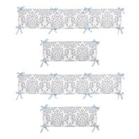 Sweet Jojo Designs Blue and Gray Avery Collection Baby Crib Bumper Pad