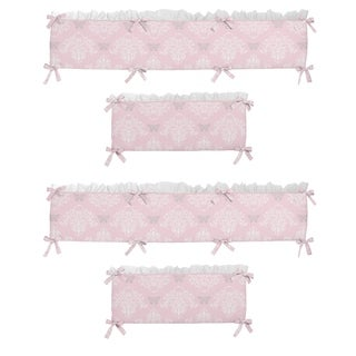 Sweet Jojo Designs Light Pink, Gray and White Alexa Collection Baby Crib Bumper Pad