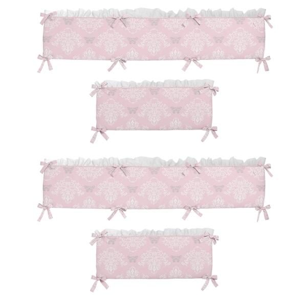 Sweet Jojo Designs Light Pink, Gray and White Alexa Collection Baby Crib Bumper Pad