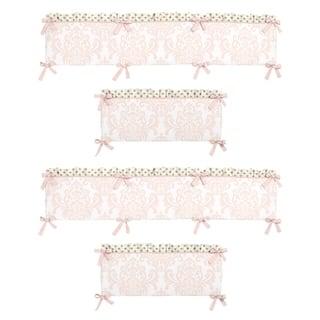 Sweet Jojo Designs Blush Pink, Metallic Gold and White Amelia Collection Baby Crib Bumper Pad