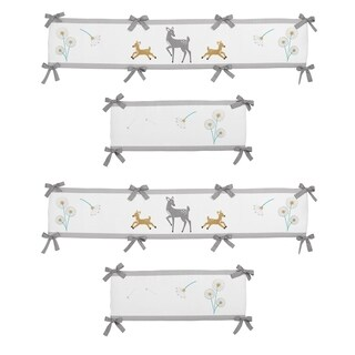 Sweet Jojo Designs Grey, Gold and White Forest Deer Collection Baby Crib Bumper Pad