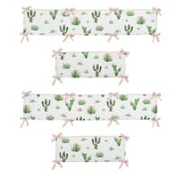 Sweet Jojo Designs Blush Pink, Green and White Cactus Floral Collection Baby Crib Bumper Pad