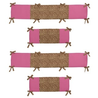 Sweet Jojo Designs Pink, Camel and Chocolate Cheetah Girl Collection Baby Crib Bumper Pad