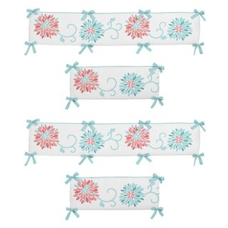 Sweet Jojo Designs Coral, Turquoise and White Emma Collection Baby Crib Bumper Pad