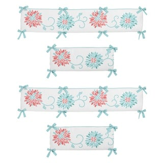 Link to Sweet Jojo Designs Coral, Turquoise and White Emma Collection Baby Crib Bumper Pad Similar Items in Baby Blankets