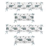 Sweet Jojo Designs Slate Blue, Black and White Bear Mountain Collection Baby Crib Bumper Pad