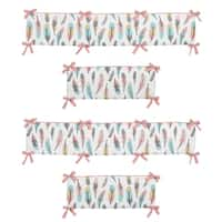 Sweet Jojo Designs Coral, Turquoise, Grey, Gold and White Feather Collection Baby Crib Bumper Pad