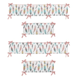 Link to Sweet Jojo Designs Coral, Turquoise, Grey, Gold and White Feather Collection Baby Crib Bumper Pad Similar Items in Bumper Pads