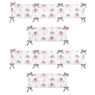 Sweet Jojo Designs Pink and Taupe Mod Elephant Collection Baby Crib Bumper Pad