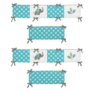 Sweet Jojo Designs Turquoise Blue, Teal, Green, Gray, Orange, and White Mod Elephant Collection Baby Crib Bumper Pad