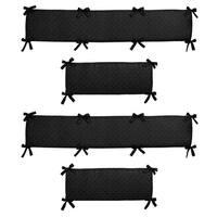 Sweet Jojo Designs Black Minky Dot Collection Baby Crib Bumper Pad