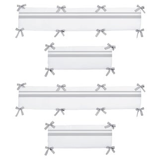 Link to Sweet Jojo Designs White and Gray Hotel Collection Baby Crib Bumper Pad Similar Items in Bumper Pads