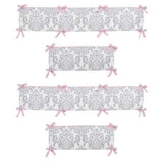 Sweet Jojo Designs Pink and Gray Elizabeth Collection Baby Crib Bumper Pad